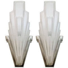 French Art Deco Wall Sconces by Hanots