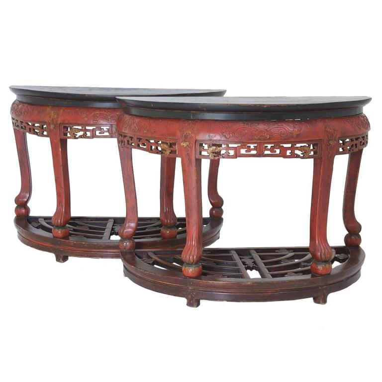 Antique carved red lacquered chinese center table or pair for Antique chinese tables for sale
