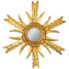 Unusual Gold Leaf Giltwood Mini Sunburst Mirror, Spain, 1950s