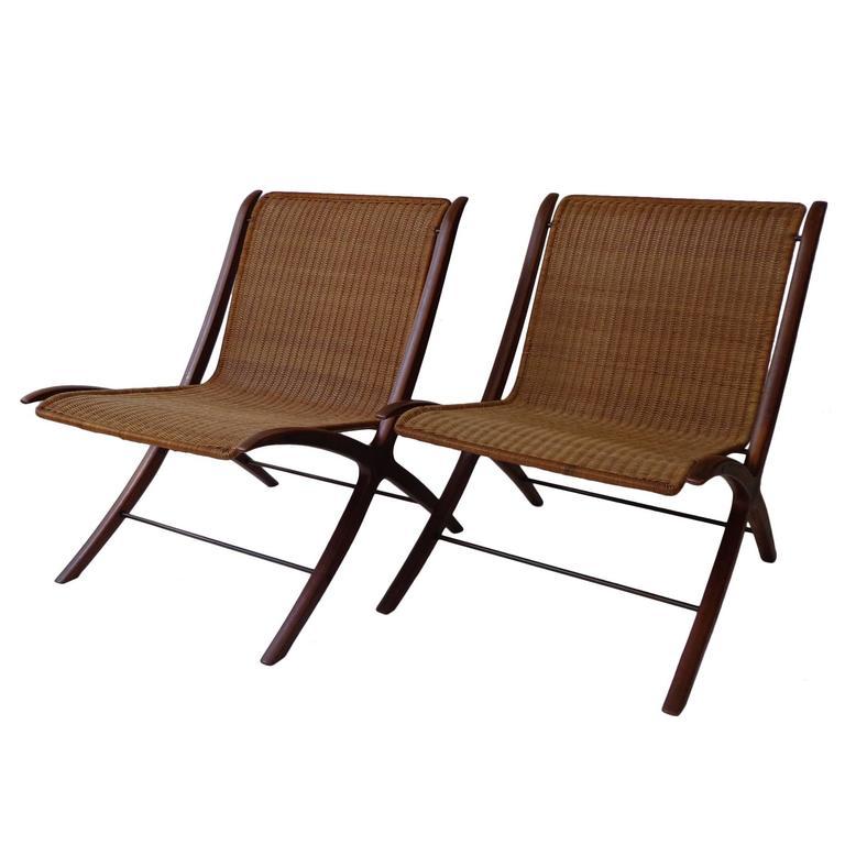 Pair of teak-cane lounge Chair by P. Hvidt & O. Mølgaard Nielsen for F. Hansen