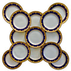 12 Cobalt Blue Dinner Plates