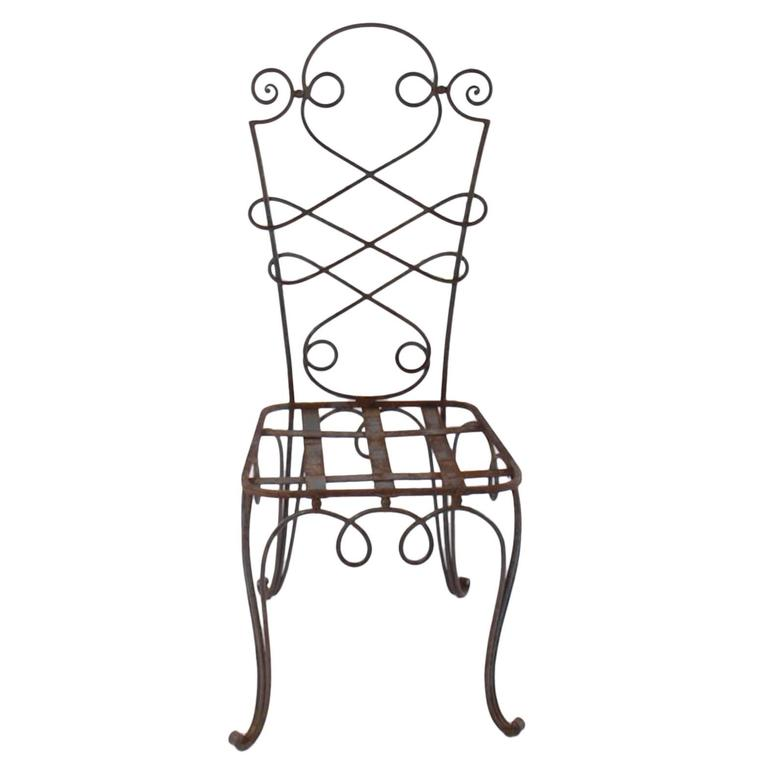 Art Deco René Prou Iron Chairs, France 1940 (Set of Eight) For Sale
