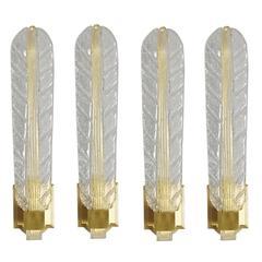 Set of Four Barovier Gold Leaf Sconces