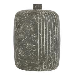 Claude Conover Ceramic Vase Black Incised Signed USA 1970's