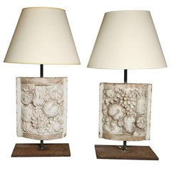 Pair of White Faience Table Lamps with Fruit Decoration Panel