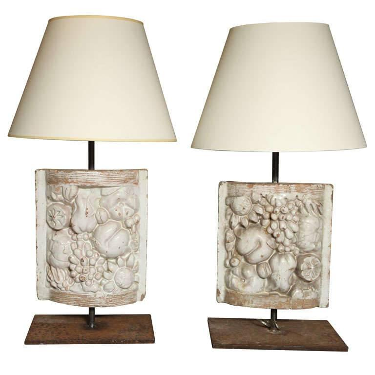 Pair of White Faience Table Lamps with Fruit Decoration Panel 1