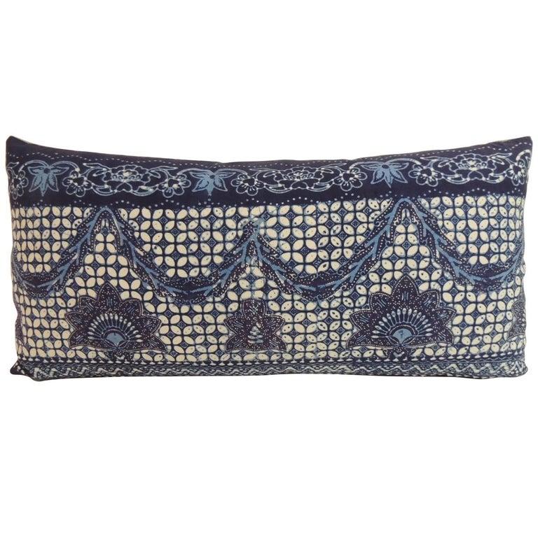 Decorative Bolster Pillow Black : Vintage Blue and White Indian Bolster Decorative Pillow For Sale at 1stdibs