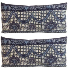 Pair of Vintage Blue and White Indian Bolster Decorative Pillows