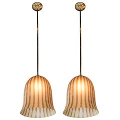 Pair of Murano Bell-Shaped Pendant Lights in Smoked Amber and Gray Stripes