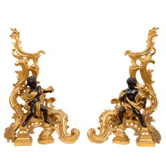 Beautiful Pair of Andirons Louis XV Style Gilt Bronze 19th Century Period