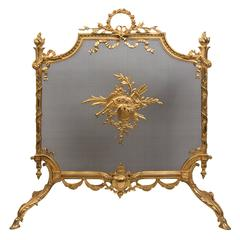 Fireplace I Screen Carved Bronze Louis XVI Style, 19th Century