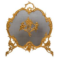 Fireplace Screen for Decoration Rich Bronze Chiseled