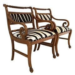 Vintage Carved Armchairs in Zebra Hide