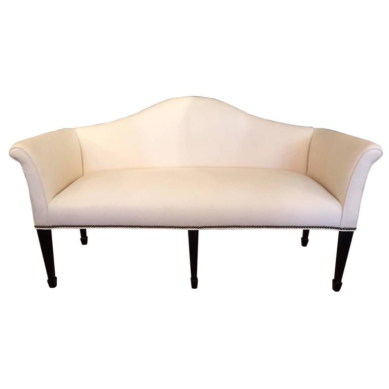 Sophisticated Mid-Century Tailored Settee Loveseat For Sale