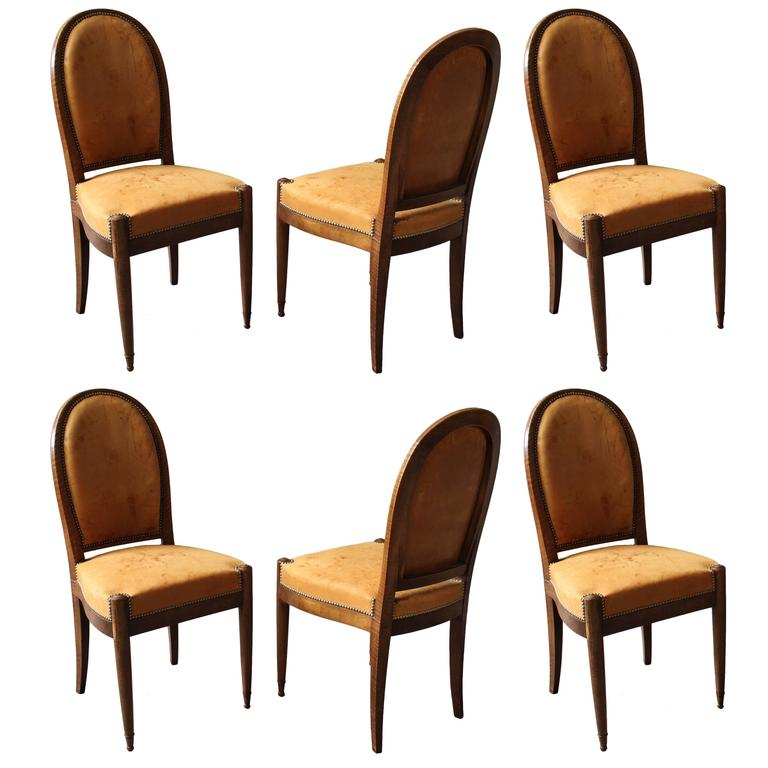 Set of Six Fine French Art Deco Walnut Dining / Side Chairs For Sale