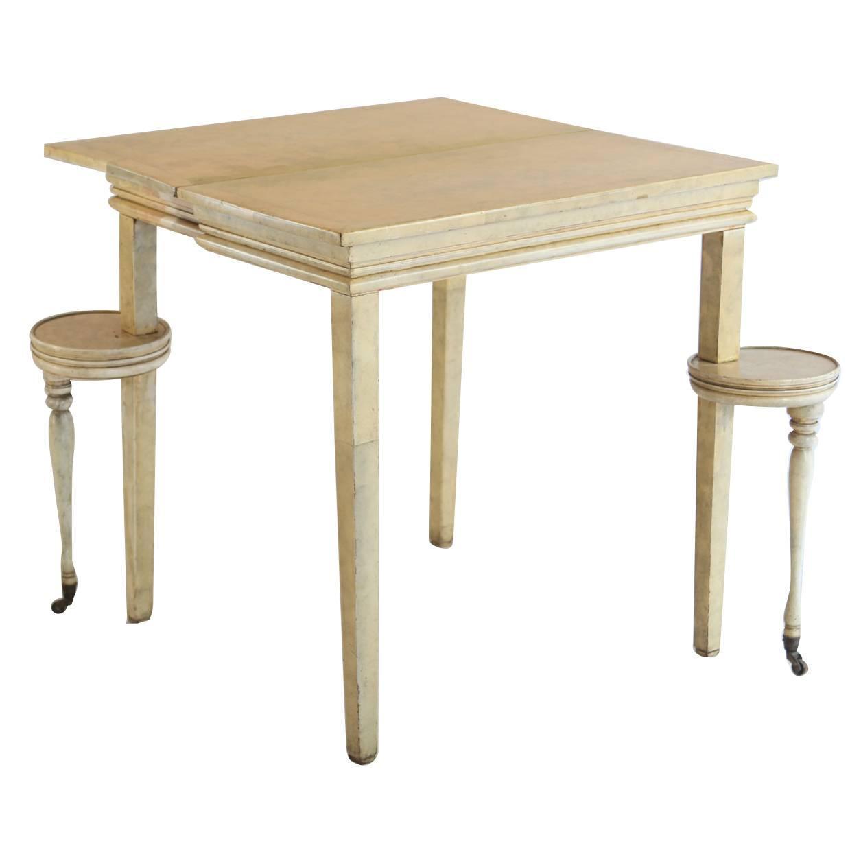folding parchment game table for sale at 1stdibs. Black Bedroom Furniture Sets. Home Design Ideas