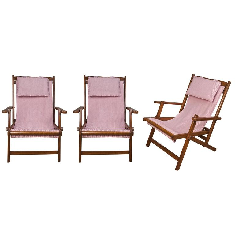 Set of Three Folding Teak Chairs with Reversible Canvas at 1stdibs