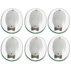 Six Oval Curved and Beveled Glass Wall Lights by Cristal Art, 1960