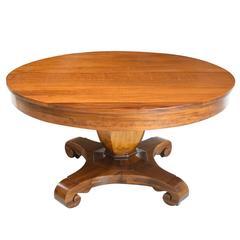 """54"""" American Empire """"Grecian Form"""" Round Center Pedestal Table, circa 1880"""
