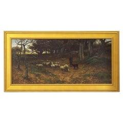 Barbizon Antique Landscape Oil Painting of Shepherd & Flock by Carleton Wiggins