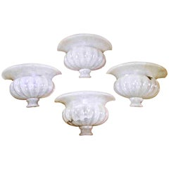 Set of Four Large Neoclassic Urn Form Alabaster Wall Sconces