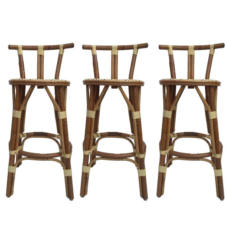 Set Of Three Petit French Bar Stools For Sale At 1stdibs