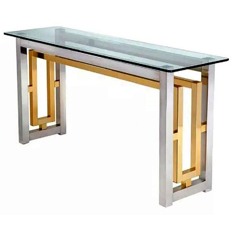 brass console table. Romeo Rega Style Chrome And Brass Console Table For Sale