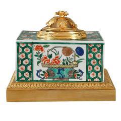 Famille Verte Porcelain Inkwell by Samson