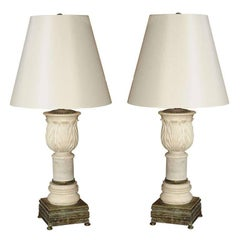 Pair of Carved Marble Table Lamps