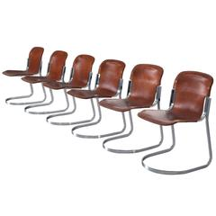 Set of Six Dining Chairs in Chrome and Cognac Leather for Cidue