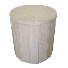 Italian Travertine Marble Round Pedestal Side Table