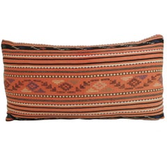 Pair of Vintage Turkish Woven Textile Bolster Decorative Pillows