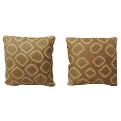 Pair of Resist Vintage African Raffia Boho-chic Decorative Pillows