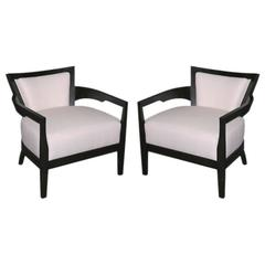 Black lacquer arm chair in white leather