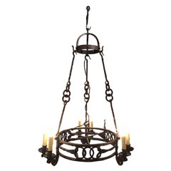Italian Wrought Iron Six-Light Chandelier, 19th Century