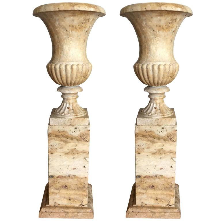 Pair of 19th Century Italian Solid Handcarved Limestone Classic Urns  1