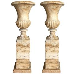 Pair of 19th Century Italian Solid Handcarved Limestone Classic Urns