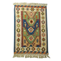 Vintage Geometric Turkish Kilim Rug