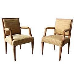 A Pair of Fine French Art Deco Bridge Armchairs