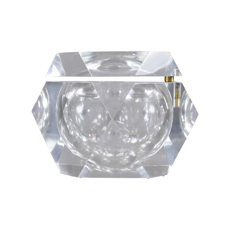 Heavy Lucite Ice Bucket with Swivel Top, circa 1970s For Sale
