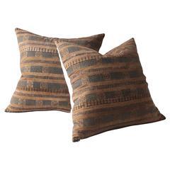 Bronze Stripe Huang Ping Textile Cushion, Large Square