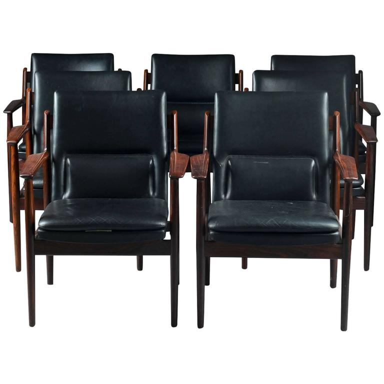 Set of 7 rosewood armchairs by Arne Vodder for Sibast circa 1960s