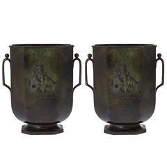 Pair of Art Deco Bronze Vases by Just Andersen