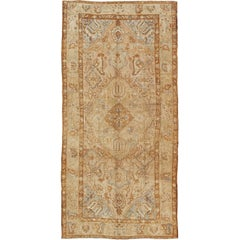 Vintage Turkish Gallery Runner in Gold-Brown and Warm Colors