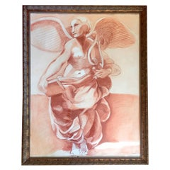 Impressive Original Drawing of Sculptural Angel