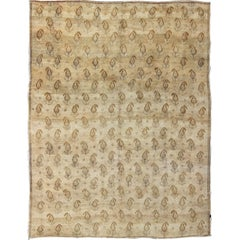 Vintage Turkish Rug with Modern Design in Neutral Tones of Cream and Light Brown