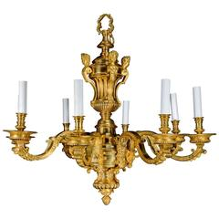A Fine and large Antique French Louis XVI Style Gilt Bronze Figural Chandelier