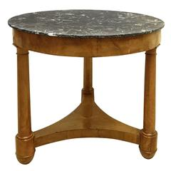 19th Century Louis Philippe Elmwood Round Table with Marble Top