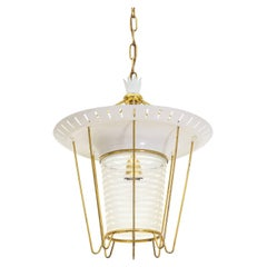 Italian 1950s Lantern in Brass, Glass and Lacquered Aluminum