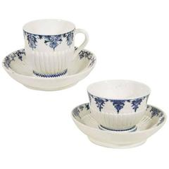 Antique French Soft Paste Porcelain Blue & White Cups & Saucers